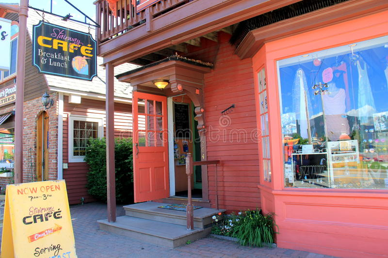 Quirky restaurant in downtown area, Stairway Cafe, North Conway, New Hampshire, 2016. Charming and quirky restaurant in downtown area, The Stairway Café stock photography