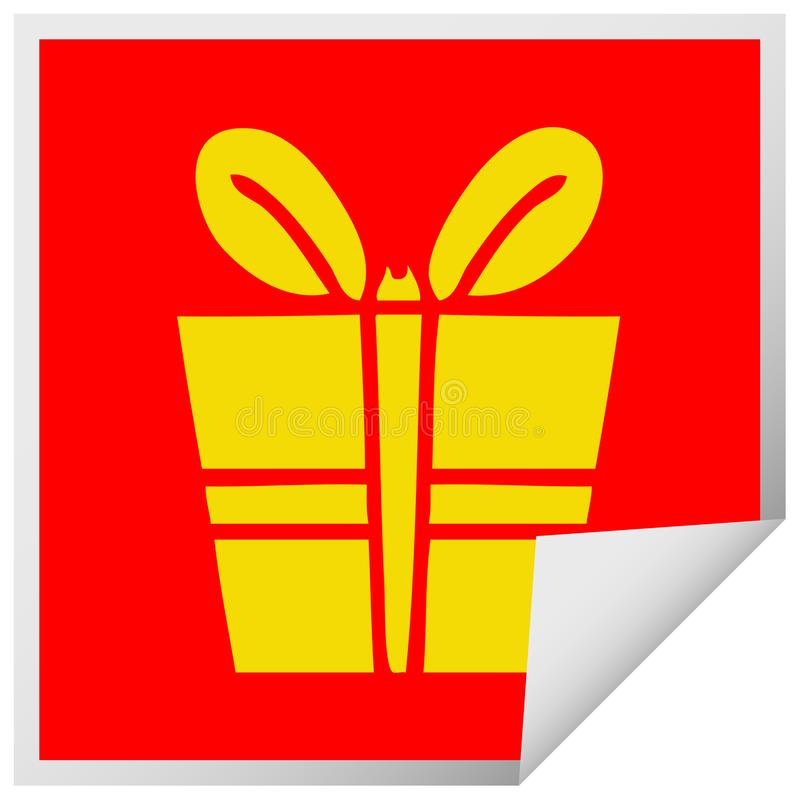 quirky square peeling sticker cartoon present royalty free illustration