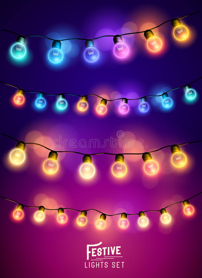 Quirlandes électriques de Noël réglées illustration de vecteur