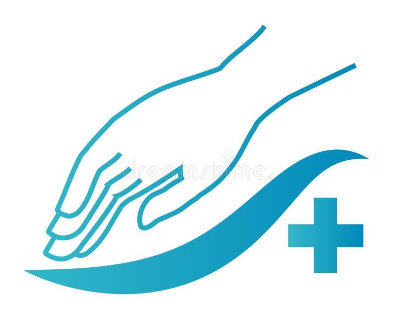 quiroterapia ou logotipo ortopedic Terapia manual Ícone médico As posses da mão na parte traseira Sinal de Massotherapy ilustração royalty free