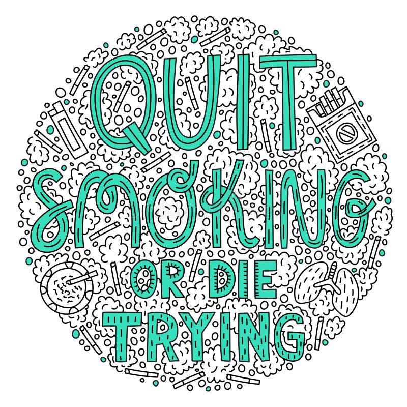 Quit che fuma o muore provare illustrazione di stock
