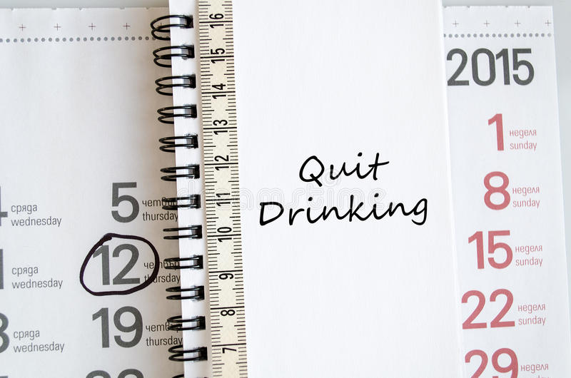 Quit drinking text concept stock image