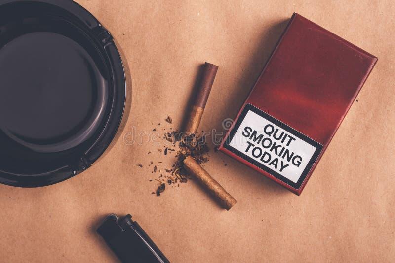 Quit fumant aujourd'hui le concept, vue supérieure image stock