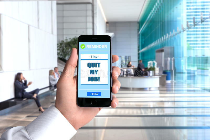 Quit job cell phone smartphone hand POV business man background workplace office perspective point of view executive royalty free stock photography