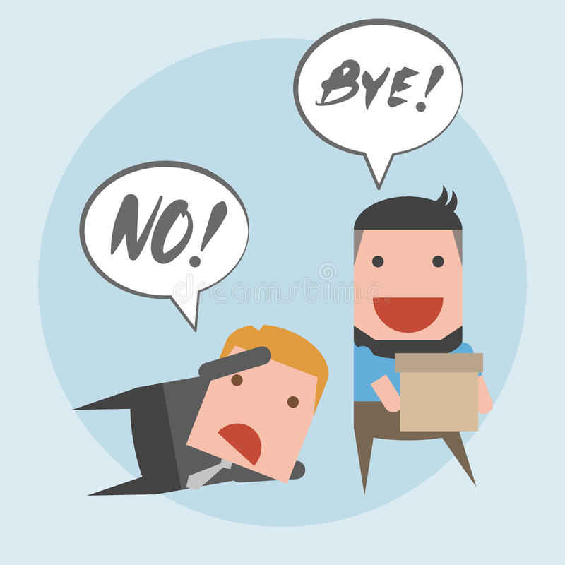 Quit from job. Please do not quit. Do not go. Change job royalty free illustration