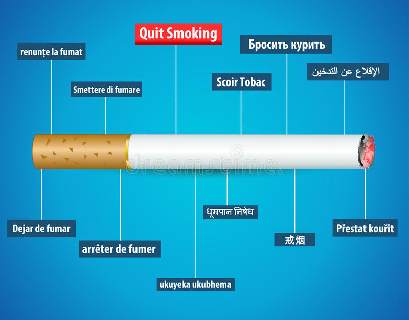 Quit que fuma em línguas diferentes, nenhum cartaz do dia do cigarro ilustração royalty free