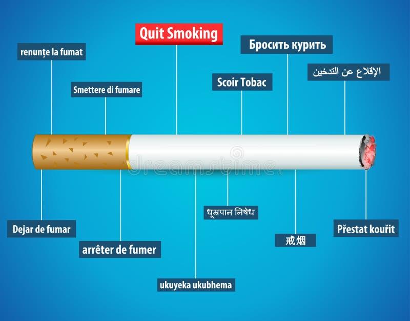Quit que fuma en otros idiomas, ningún cartel del día del tabaco libre illustration