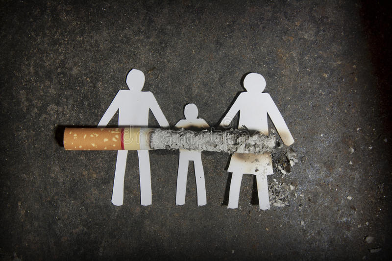 Quit. Smoke cigarettes hurt people in the family royalty free stock image