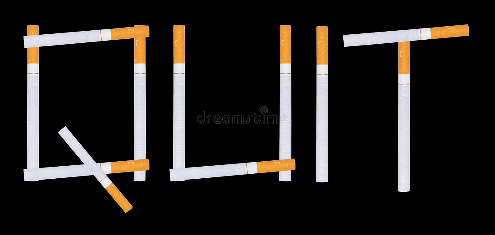 Quit smoking. Stop smoking. The word Quit spelled with cigarettes isolated on a black background royalty free stock photos
