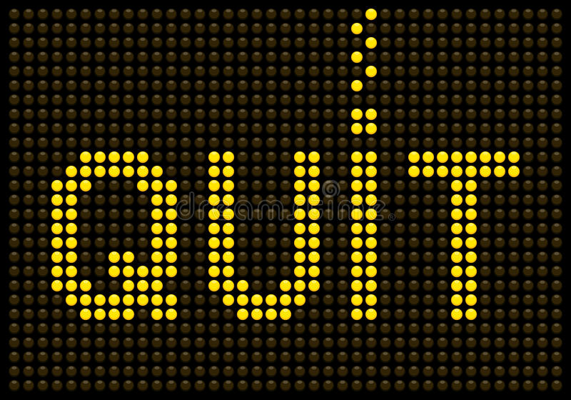 Quit Smoking Message on a LED Screen. Created in Adobe Illustrator. The letters QUIT are saved on separate layers. The LED dots are saved using Global colors royalty free illustration