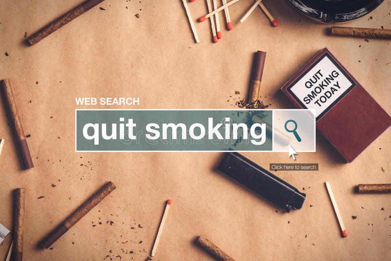 Quit smoking web search box glossary term. On internet stock photos