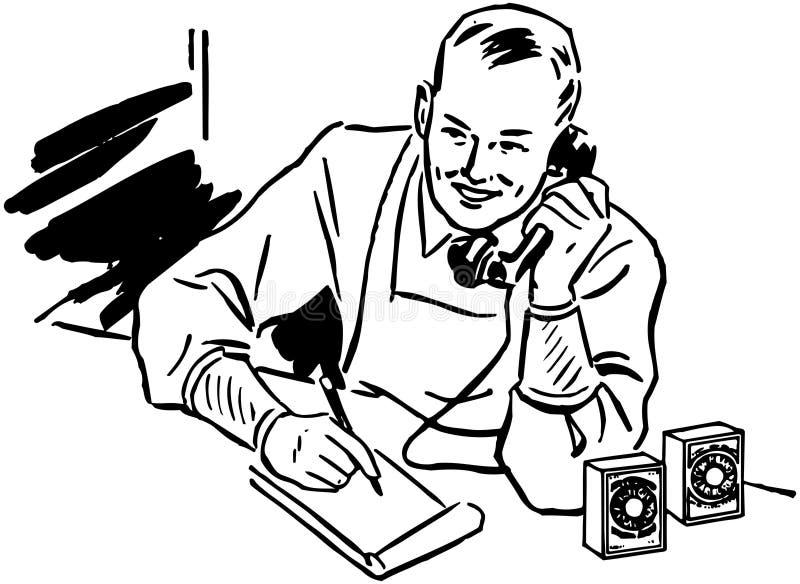 Quitandeiro Taking Phone Order ilustração do vetor