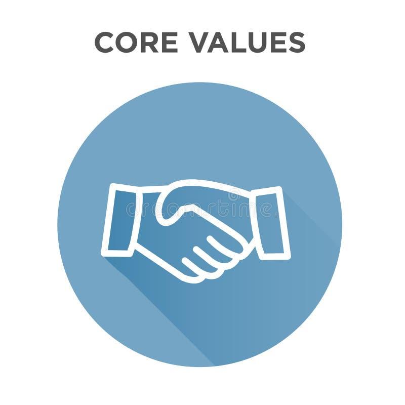 Quite el corazón al icono de los valores con el apretón de manos/las manos de la sacudida stock de ilustración