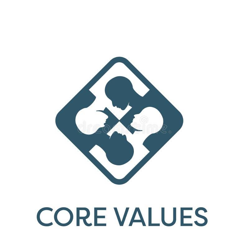Quite el corazón a la persona sólida del icono w de los valores y a las ideas de colaboración/de pensamiento ilustración del vector