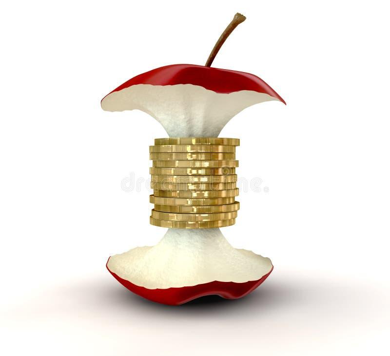 Quite el corazón a las monedas de oro de los valores libre illustration