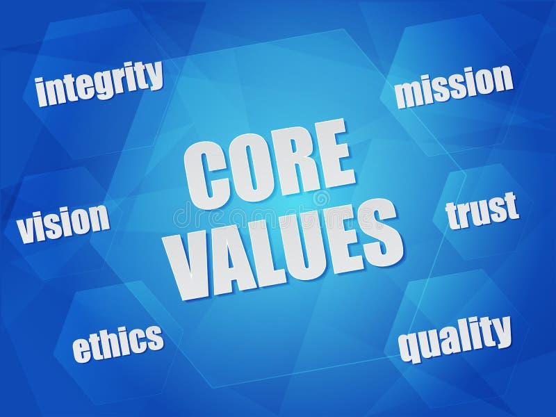 Quite el corazón a los valores y a las palabras del concepto del negocio en hexágonos stock de ilustración