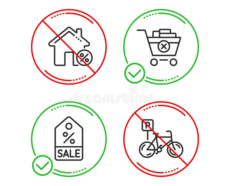 Quite la compra, la casa del pr?stamo y sistema de los iconos del vale de la venta Muestra del estacionamiento de la bicicleta Ve ilustración del vector