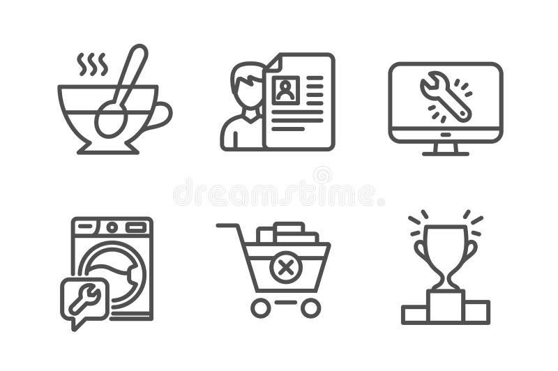 Quite la compra, la entrevista de trabajo y sistema de los iconos de la lavadora Taza de t?, reparaci?n del monitor y muestras de libre illustration
