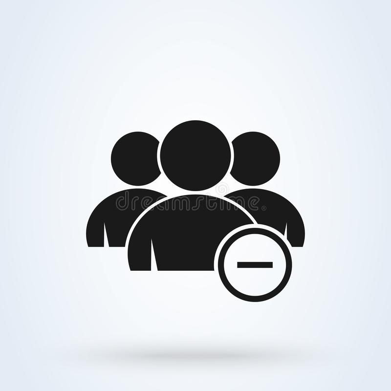 Quite, menos grupo Ejemplo moderno del diseño del icono del vector simple libre illustration