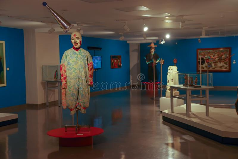 QUITO, ECUADOR - AUGUST 17, 2018: Indoor view assorted exposition of handmade sculptures made by ancienct Incas inside stock image