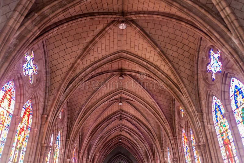 Basilica of the National Vow in Quito. QUITO, ECUADOR - JUNE 24, 2015: Interior of the Basilica of the National Vow in Quito, Ecuador stock images