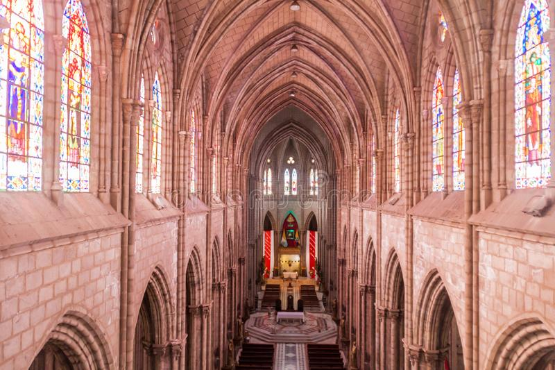 Basilica of the National Vow in Quito. QUITO, ECUADOR - JUNE 24, 2015: Interior of the Basilica of the National Vow in Quito, Ecuador royalty free stock photography