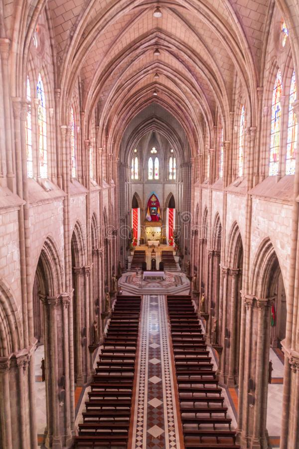 Basilica of the National Vow in Quito. QUITO, ECUADOR - JUNE 24, 2015: Interior of the Basilica of the National Vow in Quito, Ecuador royalty free stock photos