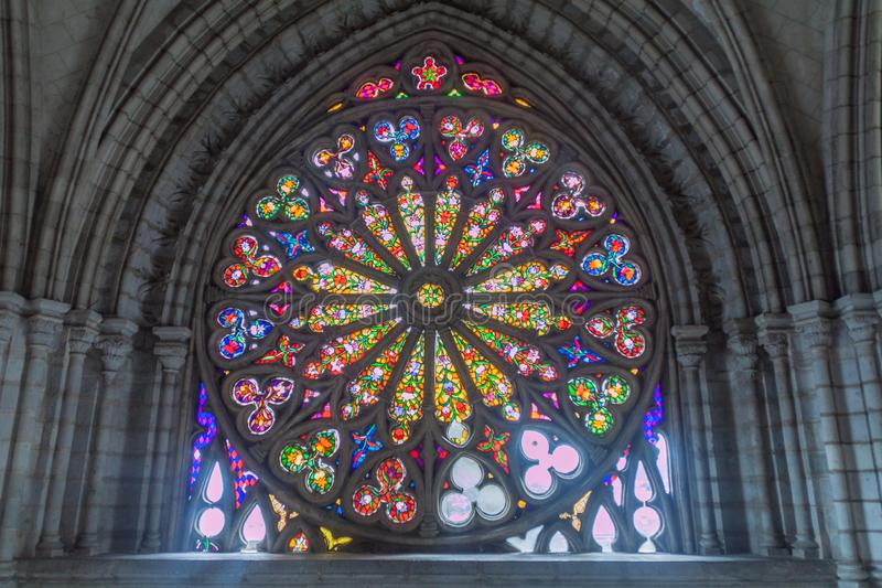 Basilica of the National Vow in Quito. QUITO, ECUADOR - JUNE 24, 2015: Window of the Basilica of the National Vow in Quito, Ecuador royalty free stock image