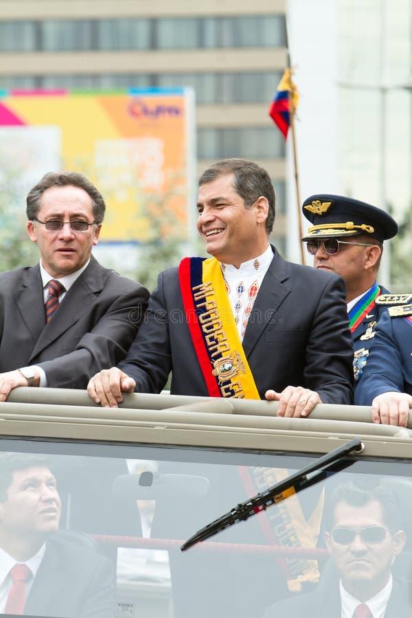 Quito, ECUADOR- MAY 24: Krajowa militarna parada zdjęcia stock