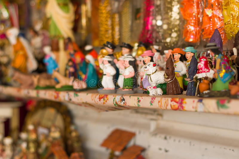 QUITO, ECUADOR- 07 MAY, 2017: Beautiful small figure made of clay in a market stock images