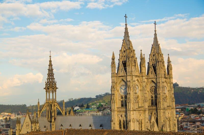 QUITO, ECUADOR 23 MEI, 2017: Basiliek van de Nationale Gelofte, een Roman Catholic-kerk, Quito, Ecuador stock foto