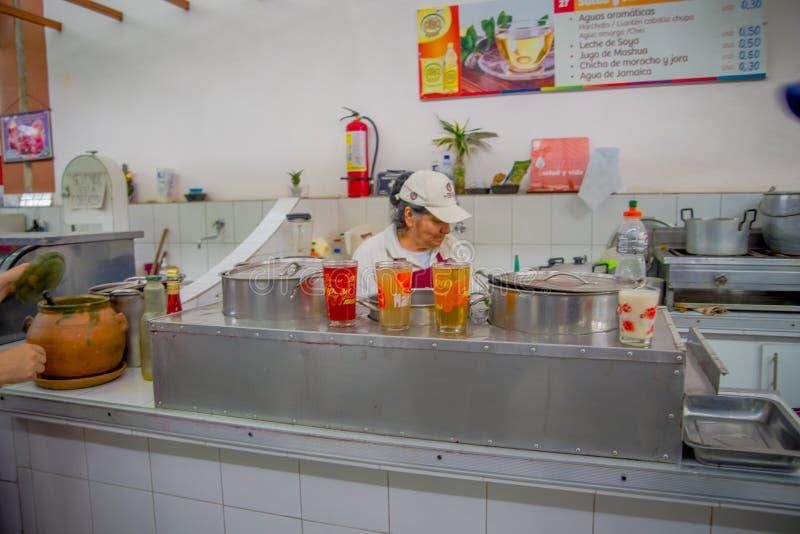 QUITO, EQUADOR - 23 DE NOVEMBRO DE 2016: Mulher não identificada que vende o alimento no mercado municipal situado em San Francis foto de stock