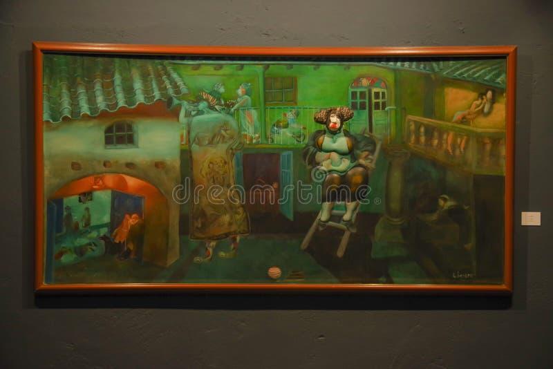 QUITO, EQUATEUR - 17 AOÛT 2018 : Vue d'intérieur de beau cadre peint dans le mur à l'intérieur de du musée d'agora d'EL localisé photographie stock