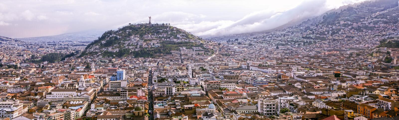 Quito Panorama With Panecillo Statue royalty free stock images