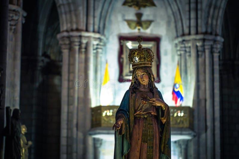Quito - 17 sierpnia 2018: Pomnik Marii Dziewiczej w Quito, Ekwador zdjęcia stock