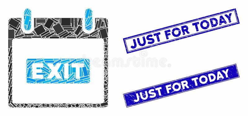 Quitter la légende Calendrier de jour Mosaïque et rectangle rayé juste pour les timbres d'aujourd'hui illustration libre de droits