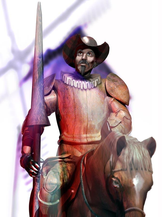 Quixote e moinho de vento ilustração royalty free