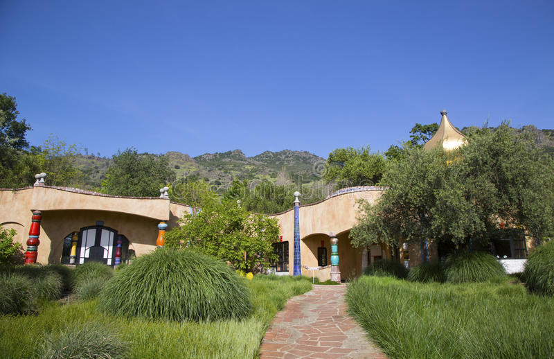 The Quixote Winery in Napa Valley built by Viennese architect Friedensreich Hundertwasser stock photo