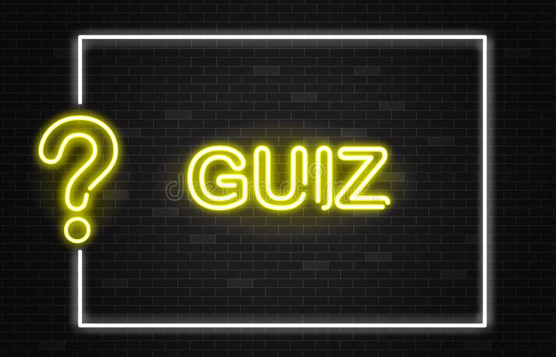 Quiz banner with yellow neon text and question mark in realistic style on dark brick wall background. vector illustration