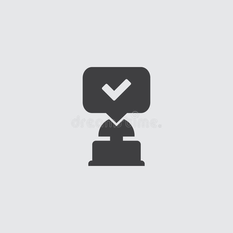 Quiz button icon in balck on a gray background. Vector illustration stock illustration