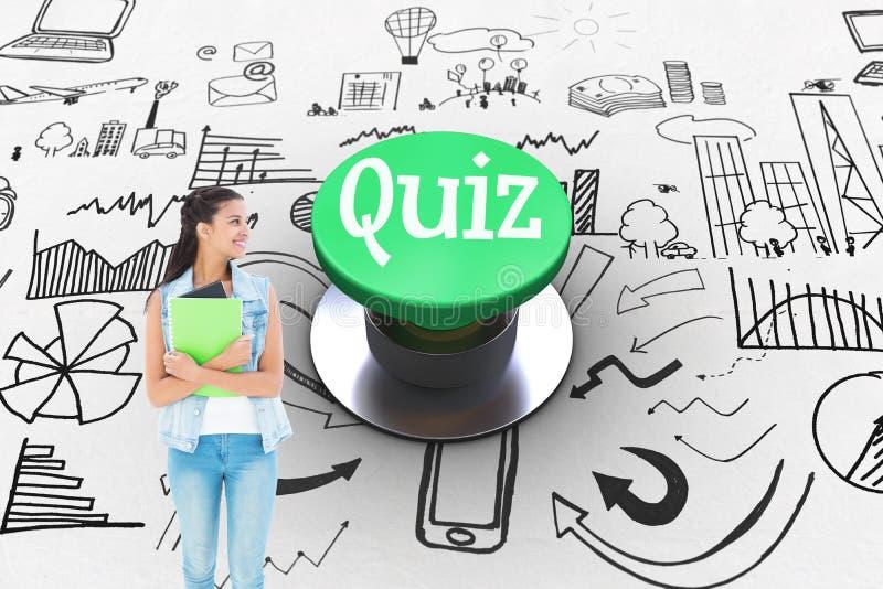 Quiz contro il pulsante verde digitalmente generato immagini stock libere da diritti