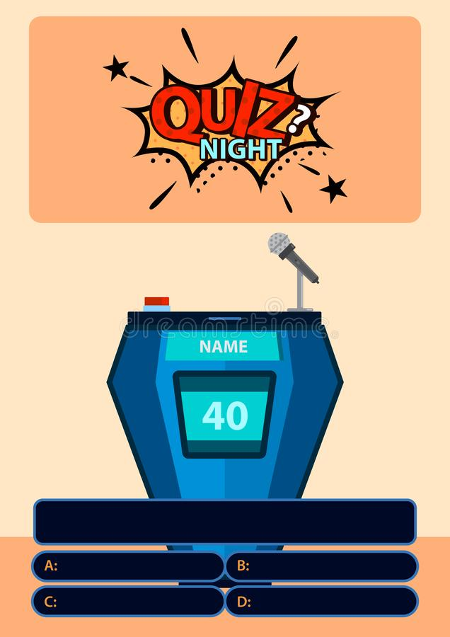 Quiz game with answers with sticker Quiz night on background. Brainy game. Vector illustration design royalty free illustration