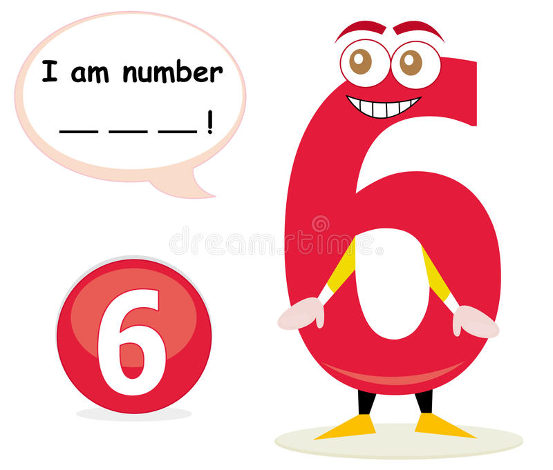 Quiz game with number six stock illustration
