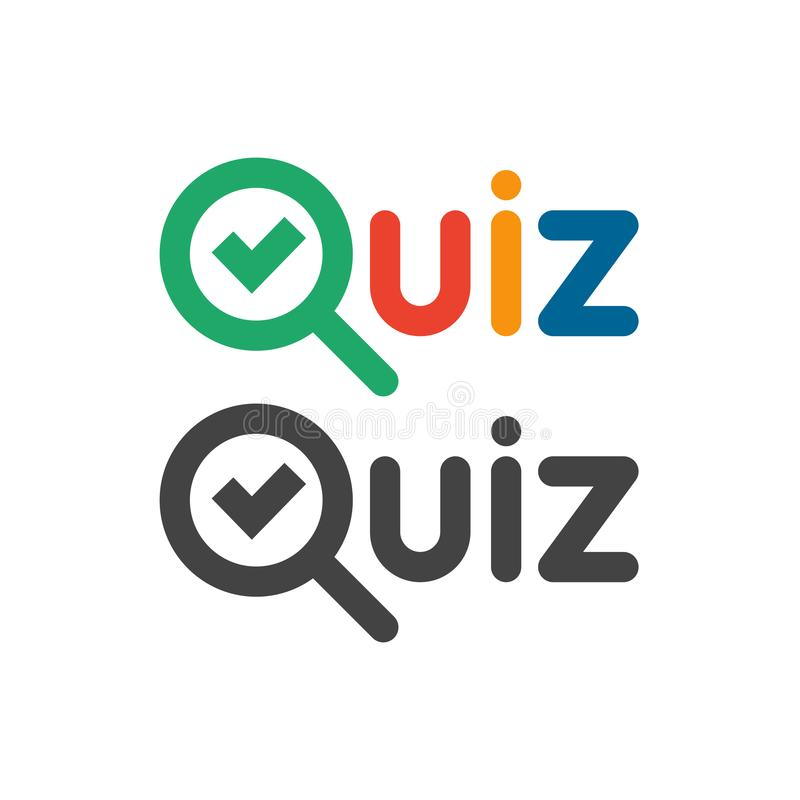 Quiz game show logo. Quizzes and test competition icon with tick symbol. Vector word logotype royalty free illustration