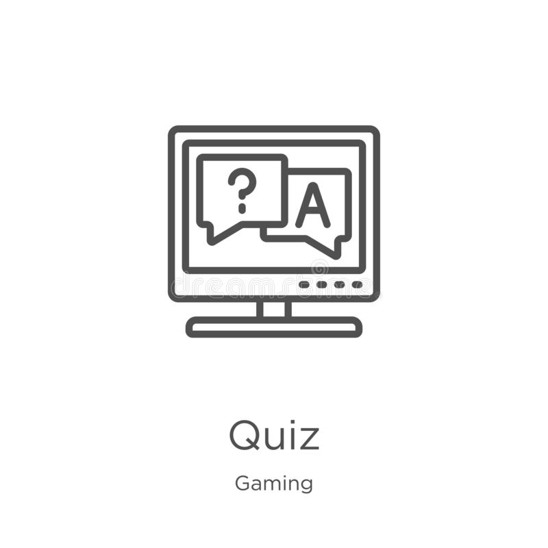 quiz icon vector from gaming collection. Thin line quiz outline icon vector illustration. Outline, thin line quiz icon for website vector illustration