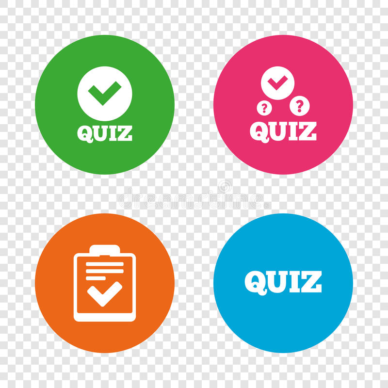 Quiz icons. Checklist with check mark symbol. Survey poll or questionnaire feedback form sign. Round buttons on transparent background. Vector vector illustration
