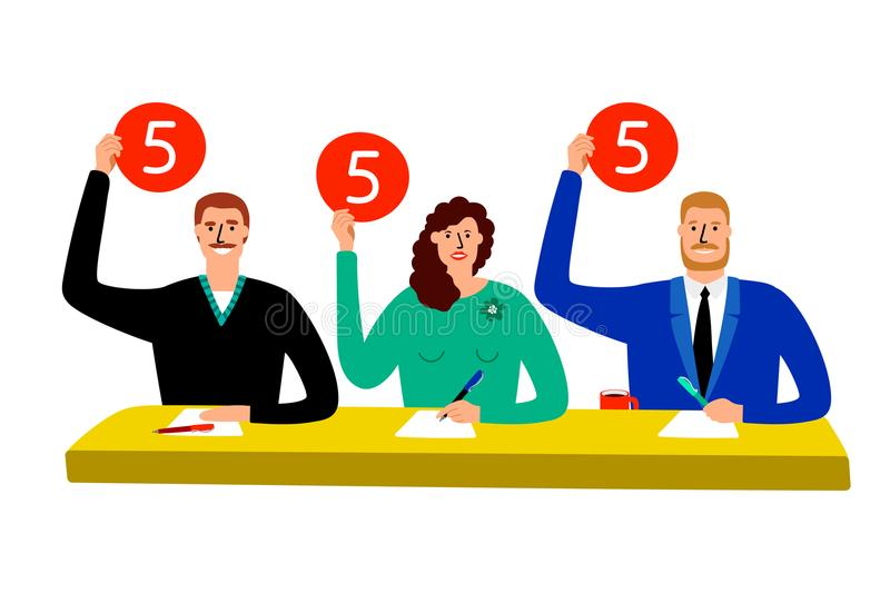 Quiz jury. Competition judge group sitting at table, estimate and show opinion scorecards vector illustration stock illustration