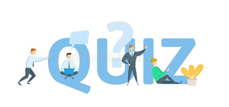 quiz Konzept mit Schlüsselwörtern, Buchstaben und Ikonen Flache Vektorillustration auf weißem Hintergrund vektor abbildung