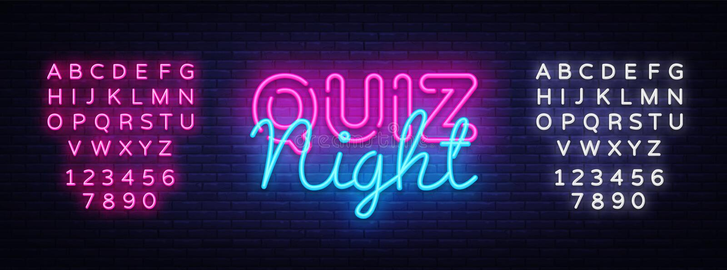 Quiz night announcement poster vector design template. Quiz night neon signboard, light banner. Pub quiz held in pub or royalty free illustration