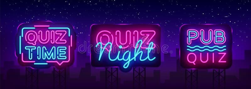 Quiz night collection announcement poster vector design template. Quiz night neon signboard, light banner. Pub quiz held vector illustration